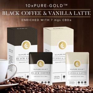 10xPure Gold Black Coffee Vanilla Latte With CBDa